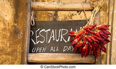 italiano, ristorante, lavagna