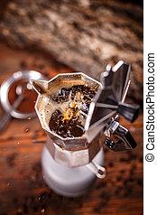 italiano, tradicional, fabricante café