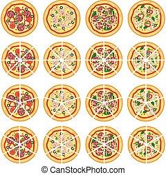 italiano, vetorial, pizza, cobrança, ícones