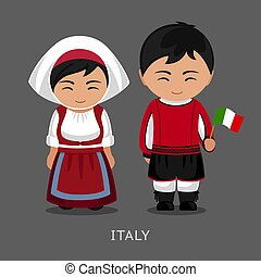 Italians in national dress with a flag.