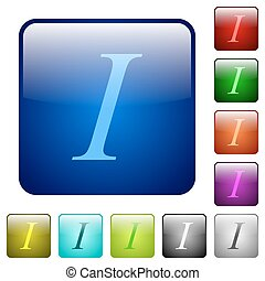 Italic font type color square buttons