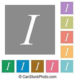 Italic font type square flat icons