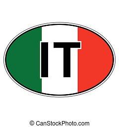 italie, autocollant, drapeau, république, voiture, italien
