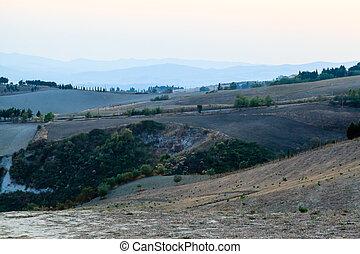 italie, champs, campagne, ferme, toscane, paysage
