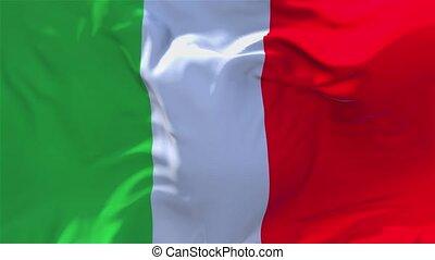 italie, continu, 218., seamless, onduler, arrière-plan., drapeau, vent, boucle