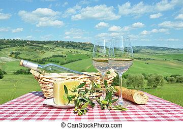 italie, contre, toscan, table, blanc, landsacpe, vin