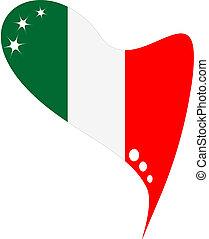italie, dans, heart., icône, drapeau italie