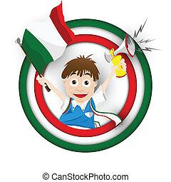 Italie, drapeau, football, ventilateur, dessin animé