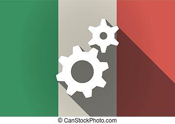 italie, engrenages, deux, ombre, drapeau, long