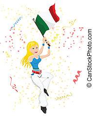 italie, football, ventilateur, flag.