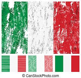 italie, grunge, drapeau, ensemble