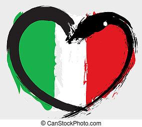 italie, grunge, drapeau