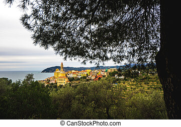 italie, liguria, cervo, village, italien, vue, typique