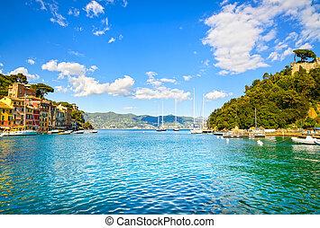italie, liguria, portofino, baie, luxe, village, vue., repère