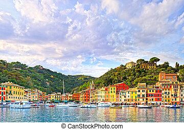 italie, liguria, portofino, panorama, luxe, village, vue., repère