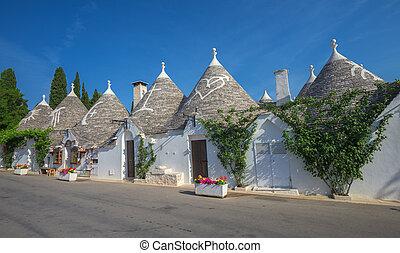 italie, méridional, maisons, traditionnel, puglia, trulli,...