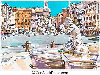 italie, marqueur, rome, cityscape, peinture, original