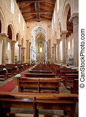 italie, moyen-âge, sicile, cefalu, intérieur, cathédrale