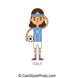 Italie,  national,  football,  Illustration, joueur, vecteur, football