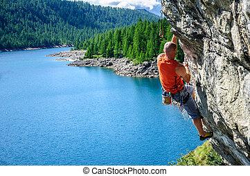 italie, nord, mur, lac, devero, au-dessus, escalade, grimpeur