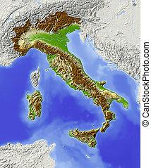 italie, ombragé, carte soulagement