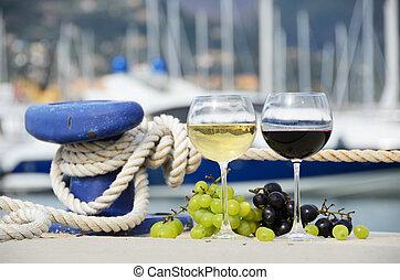 Italie,  Spezia, Verres vin,  la,  yacht, Raisins, jetée
