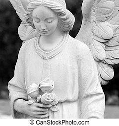 italie, statue, ange, cimetière, roses, tenue