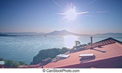 italie, toit, volcan, vesuvius, naples, vue