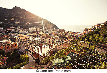 italie, ville, minori, vue