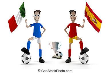 italie, vs, espagne