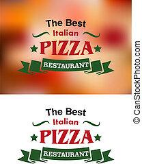 italien, bannières, étiquettes, pizza, restaurant