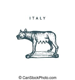 italien, capitoline, touristic, drawing., synen, symbol., illustration, hand, vektor, varg, sketched, skulptur, rom
