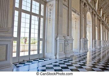 italien, di, königlich, venaria, -, diana, galleria, palace: