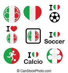italien, football, amour, icônes