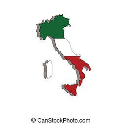 italien, landkarte, und, fahne