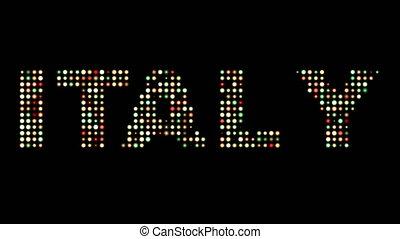 italien, leuchtdiode, text