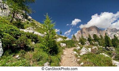 italien, montagne, alps., cinq, crêtes, torri, tours, cinque
