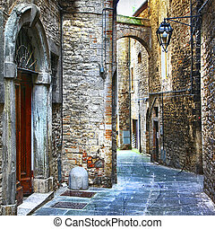 italien, moyen-âge, rues, villes