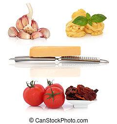 italien, pâtes, ingrédients