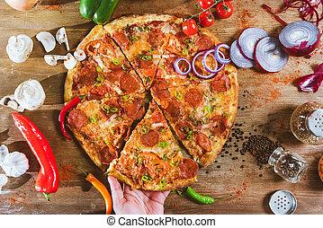 italien, pizza pepperoni