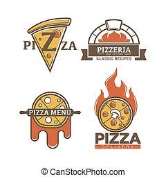 italien, pizzeria, vecteur, pizza, icônes
