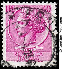 italien, reihe, briefmarke, 1953:, -, turrita, italia,...