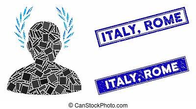 italien, rektangel, tätningar, caesar, skrapet, rom, mosaik