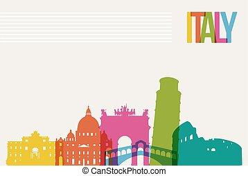 italien, res bestämmelseort, horisont, bakgrund, milstolpar