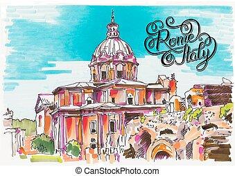 italien, rom, markör, lette, stadsbild, hand, målning, original