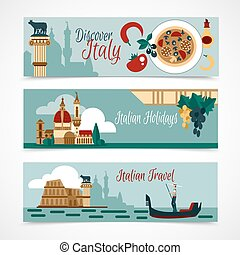 italien, satz, banner, touristic