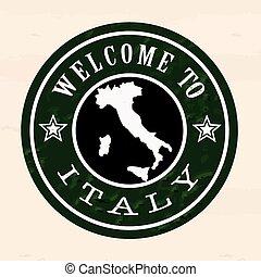 italien, stämpel, välkommen