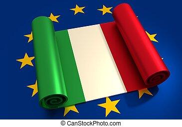 italien, und, european union, relationships., nexit, metapher