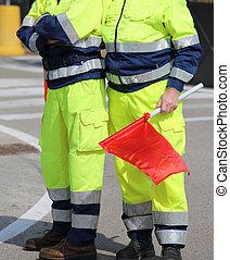 italien, uniforme, hommes, fla, civil, protection, rouges