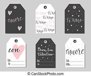 italien, valentines, cadeau, tags.